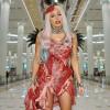 Lady Gaga arrives at Dubai Airport wearing beef bacon dress