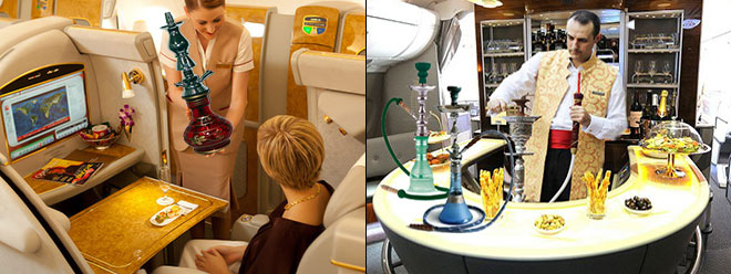 Premium passengers will be able to order a shisha from their seat, before retiring to the Signature Shisha Room where it will be prepared by an expert. Pictures: Emirates